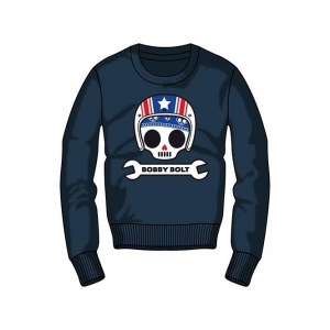 Bobby Bolt Roundneck Sweatshirt for Kids, navy