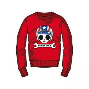 Bobby Bolt Roundneck Sweatshirt for Kids, red