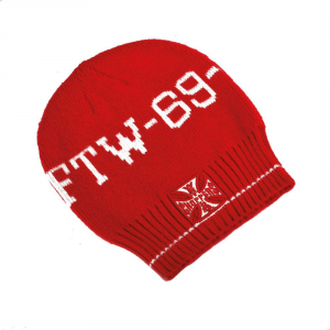 Cappellino beanie West Coast Choppers FTW 69 Rosso Bianco