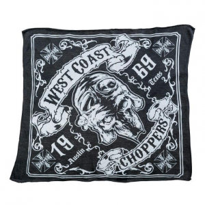 Bandana West Coast Choppers Skull 13 Nero Grigio