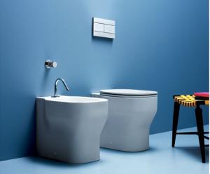 Vaso e bidet a terra per il bagno cm 52 x 36 Glaze Azzurra