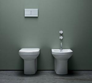 Vaso e bidet a terra per il bagno cm 56 x 36 Thin Azzurra