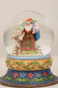 Jim Shore Season of Giving Santa with Deer Snowglobe 4058796