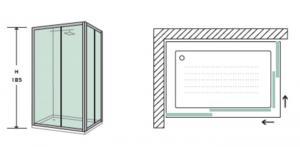 BOX DOCCIA RETTANGOLARE 70x90 in cristallo temperato da mm 4