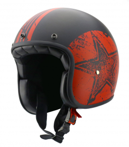 CARBURO CLASS STAR Open Face Helmet - Red and Black