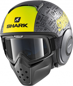 Casco jet Shark DRAK TRIBUTE RM Mat Antracite Opaco Giallo Nero