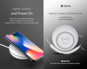Carica batterie wireless Qi 10W per iPhone Samsung Bianco