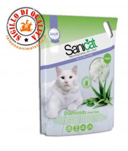 Lettiera al silicio Gatto Sanicat Diamonds  profumo Aloe 5L. 15L.