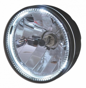 5 3/4 Headlight SKYLINE, LED front position light ring, black, H4, 12V 60/55 W, side mount