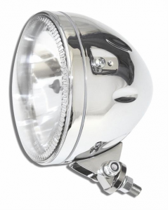 5 3/4 Headlight SKYLINE, LED front position light ring, chrome, H4, 12V 60/55 W, bottom mount