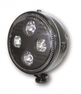 ATLANTA 5-3/4 LED-headlight, bottom mount, black housing