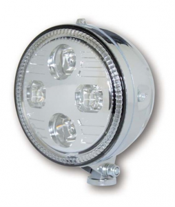 ATLANTA 5-3/4 LED-headlight, bottom mount, chrome housing