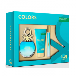 Benetton Colors Blue Eau De Toilette Spray 50ml Set 3 Parti 2018