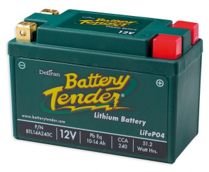 Battery Tender, Battery, Lithium, 10-14Ah, 12V, LCA = 240A , LxWxH = 134x65x92 mm
