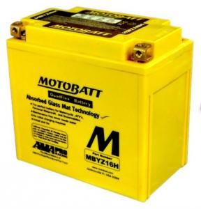 Motobatt Battery MBYZ16HYTX14HBS,YTX14BS,YTX14LBS, GYZ16H
