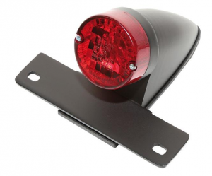 License Plate Bracket / Taillight, Sparto, E-Approved, Red Lens, Housing Black