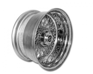 80 Spoke Wheel Assembly, 18X3.50 Front, Single Flansh, Chrome