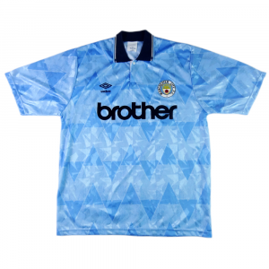 1989-91 Manchester City Maglia Home L (Top)