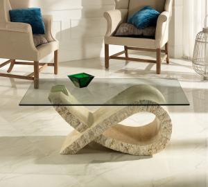 Tavolino da Salotto Fiocco in Pietra FossilStone e Vetro