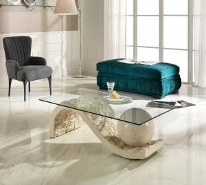 Tavolino da Salotto Onda  in Pietra FossilStone e Vetro