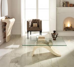 Tavolino da Salotto Dove in Pietra FossilStone e Vetro