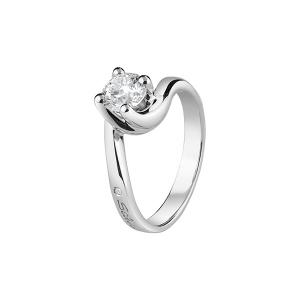 SALVINI-Anello solitario in oro bianco con diamanti