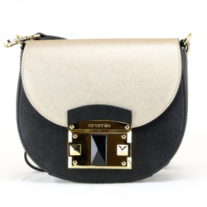 Shoulder bag Cromia IT SAFFIANO 1403640 NERO+ORO