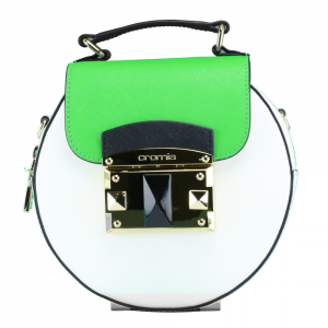 Hand and shoulder bag Cromia IT SAFFIANO 1403638 BIANCO+VERDE