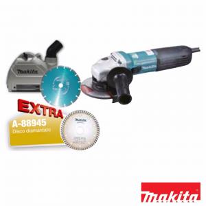 Makita GA5040CJD1 Smerigliatrice angolare 125mm 1400W + 2 dischi diamantati + coperchio di protezione per le polveri + valigetta Makpac