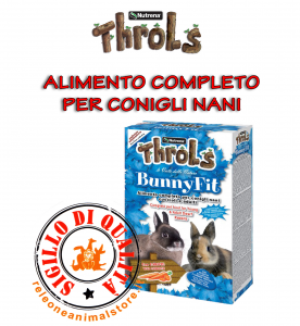 Alimento Completo per Conigli Nani Cuccioli e Adulti Throls BunnyFit con Carota 900gr