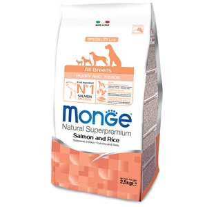 MONGE ALL BREEDS  CANE PUPPY & JUNIOR MONOPROTEICO SALMONE E RISO