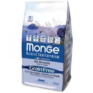 MONGE ALL BREEDS CANE ADULT GRAIN FREE ACCIUGHE PATATE E PISELLI