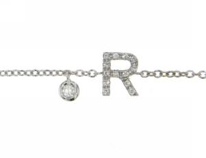 Bracciale in Oro Bianco e Brillanti con Iniziale (R) e Pendente