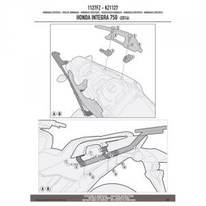 ATTACCO POSTERIORE SPECIFICO PER BAULETTO MONOKEY O MONOLOCK KAPPA KZ1127 HONDA INTEGRA 750 DAL 2014 AL 2015