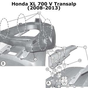 ATTACCO POSTERIORE SPECIFICO PER BAULETTO MONOKEY KAPPA K225 HONDA TRANSALP XL 700 V DAL 2008 AL 2013