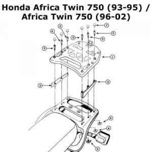ATTACCO POSTERIORE SPECIFICO PER BAULETTO MONOKEY KAPPA K210 HONDA XR750V AFRICA TWIN DAL 1993 AL 2002