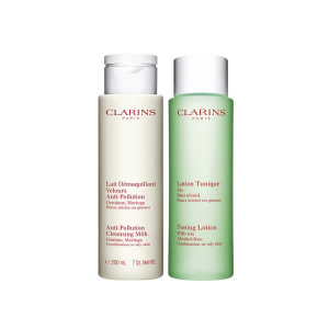 Clarins Cleansing Milk With Gentian + Toning Lotion With Iris 2x200ml
