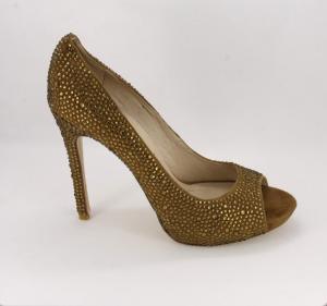 Scarpa elegante donna cerimonia in taso Peep Toe effetto scamosciato bronzo con applicazione cristalli