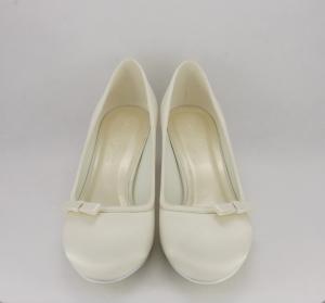 Scarpe donna eleganti in tessuto di raso avorio con fiocchetto