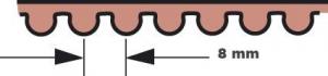 Primary Belt 132-Teeth, 1 3/4 8 mm