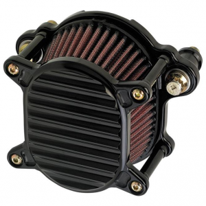 Air Cleaner, Omega, Big Twin, Finned, Black