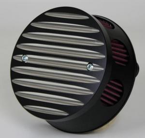 Air Cleaner Grooved Fat Contrast, Black Anodized