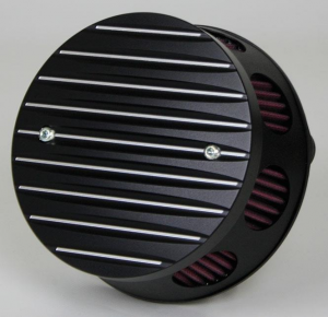 Air Cleaner Grooved Fine Contrast, Black Anodized