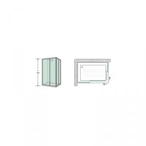 BOX DOCCIA RETTANGOLARE 70X120 CM IN CRISTALLO TRASPARENTE TEMPERATO DA 6MM PROFILI ALLUMINIO CROMATO LUCIDO