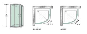 BOX DOCCIA SEMICIRCOLARE 75X75 CM IN CRISTALLO TRASPARENTE TEMPERATO DA 6mm