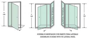 PORTA A BATTENTE PER BOX DOCCIA-NICCHIA DA 90 CM IN CRISTALLO TRASPARENTE TEMPERATO DA 6mm E PROFILI CROMATI LUCIDI