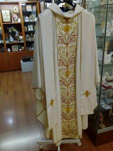 Casula Avorio con stolone cucito ricamo ricco
