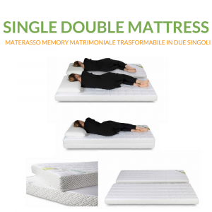 Materasso Memory 80x190 Trasformabile in 2 Materassi  Singoli Memory 80x190 | Single Double Mattress