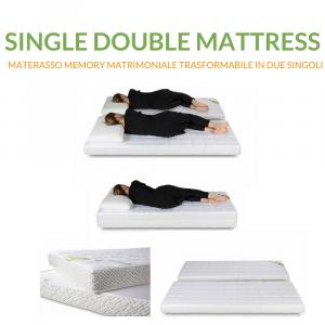Materasso Memory 80x190 Trasformabile in 2 Materassi  Singoli Memory 80x190 | Single Double Mattress