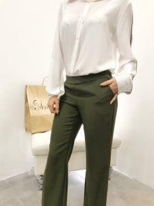 Pantalone donna elegante vita bassa gamba a palazzo made in Italia TG S, M,L